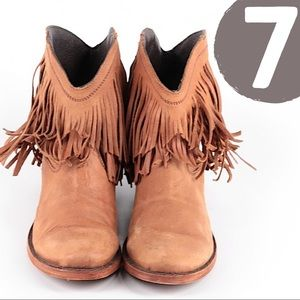 Liberty Black Distressed Leather Fringe Booties 7
